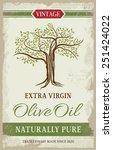 olive oil vintage label with... | Shutterstock .eps vector #251424022