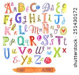 funny watercolor alphabet | Shutterstock .eps vector #251430172