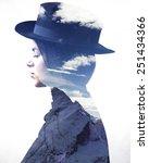 double exposure of girl wearing ... | Shutterstock . vector #251434366