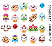 cute kawaii food characters  ...   Shutterstock .eps vector #251459002