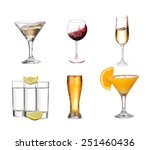 collage of alcohol drinks.... | Shutterstock . vector #251460436
