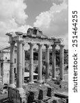 Roman Forum in Rome, Italy. Black and white retro style - monochrome color tone. - stock photo