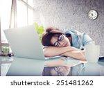 businesswoman sleeping office... | Shutterstock . vector #251481262