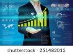 businessman show the graph on... | Shutterstock . vector #251482012