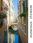 Quiet beautiful canal and a small bridge in Venice, Italy - stock photo