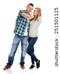 young attractive couple showing ... | Shutterstock . vector #251501125