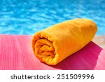 bright towel on a lounger ... | Shutterstock . vector #251509996