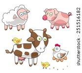 funny farm. cartoon pig  lamb ... | Shutterstock .eps vector #251516182