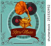 retro music poster with vinyl...