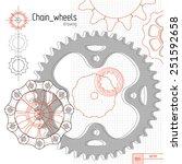 Bicycle Chain Wheels. Vector...