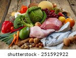 various paleo diet products on... | Shutterstock . vector #251592922