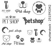 Stock vector set of vintage logo and logotype elements for pet shop pet house and pet clinic 251593342