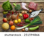 various paleo diet products on... | Shutterstock . vector #251594866
