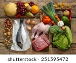 various paleo diet products on... | Shutterstock . vector #251595472