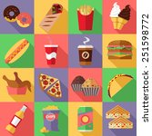 set of flat fast food icons.... | Shutterstock .eps vector #251598772