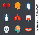 medical care health icons flat... | Shutterstock .eps vector #251609422