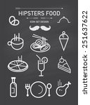 vector hipsters food icon set...   Shutterstock .eps vector #251637622