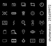 photography line icons on black ... | Shutterstock .eps vector #251659972