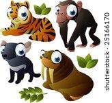 vector animal set 175: tiger, walrus, monkey, tasmanian devil