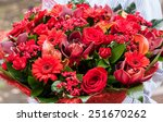 a bouquet of red flowers