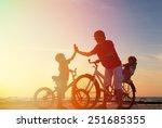 Biker Family Silhouette  Fathe...