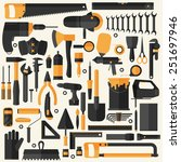 hand tools icon set   flat... | Shutterstock .eps vector #251697946