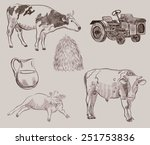 two cows and dairy products set ... | Shutterstock .eps vector #251753836