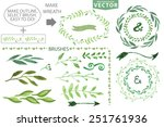 set of watercolor wreaths and... | Shutterstock .eps vector #251761936