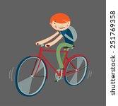 Boy Riding Bicycle. Cartoon...