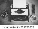 vintage typewriter on the wood... | Shutterstock . vector #251775292