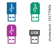 usb icons set colored flash...   Shutterstock .eps vector #251775826