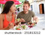 restaurant tourists couple... | Shutterstock . vector #251813212