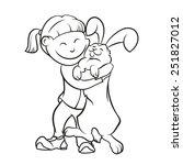 girl and her lovely rabbit | Shutterstock .eps vector #251827012