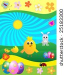 easter cute animals background... | Shutterstock .eps vector #25183300