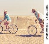 cute couple on a bike ride on a ... | Shutterstock . vector #251833888