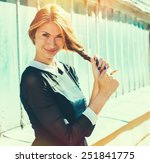 woman hipster  happy young... | Shutterstock . vector #251841775