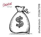 money bag dollar   Shutterstock . vector #251867398