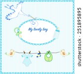 newborn boy congratulate card... | Shutterstock .eps vector #251895895