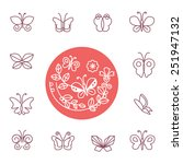 vector set of line butterfly... | Shutterstock .eps vector #251947132