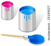 paintbrush and paint bucket