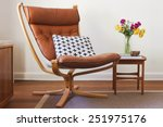 retro tan leather chair and...