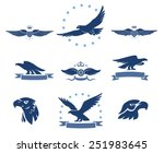 eagles silhouettes and winged...   Shutterstock .eps vector #251983645