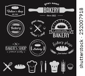 set of vintage bakery logos ... | Shutterstock .eps vector #252007918