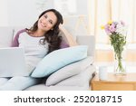 pretty brunette using her... | Shutterstock . vector #252018715
