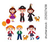 schoolchildren in the different ... | Shutterstock .eps vector #252027658