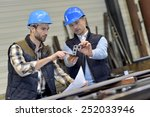 engineer with mechanical worker ... | Shutterstock . vector #252033946