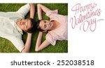 two friends lying head to head...   Shutterstock . vector #252038518