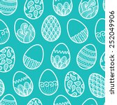 doodle easter seamless pattern. ... | Shutterstock .eps vector #252049906