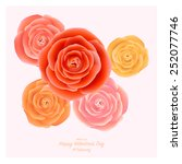 realistic colorful rose mesh ... | Shutterstock .eps vector #252077746