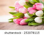 Bouquet Of Tulips In Front Of...